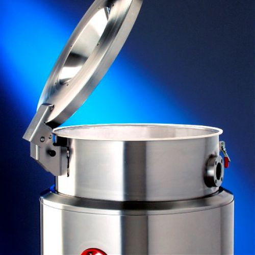 Stainless steel drying hopper with hinged cover
